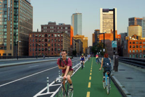 A rendering of the future cycletrack on Summer Street, created by the Boston Cyclists Union.