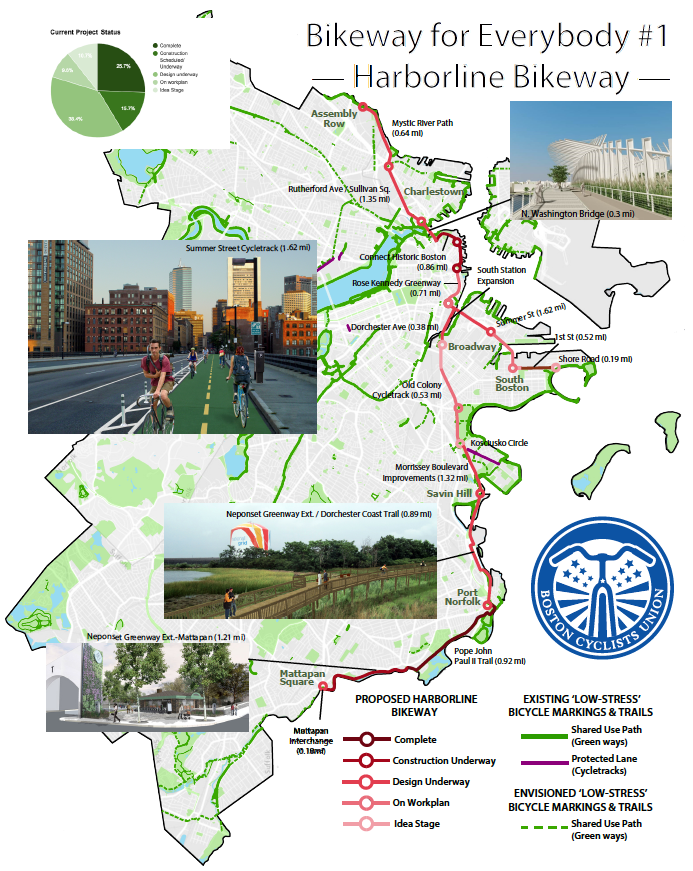 A map of the Harborline Bikeway, the first of five Bikeways for Everybody.